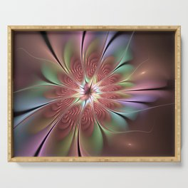 Abstract Fantasy Flower, Fractal Art Serving Tray
