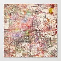 houston Canvas Prints featuring Houston by MapMapMaps.Watercolors