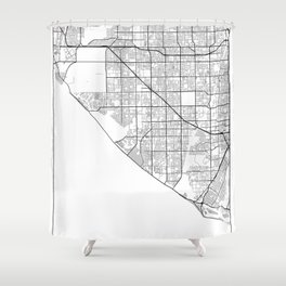 Minimal City Maps - Map Of Huntington Beach, California, United States Shower Curtain