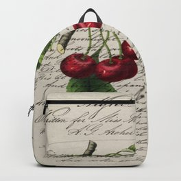 shabby elegance french country botanical illustration vintage red cherry Backpack