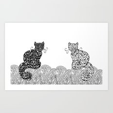Black Cat White Cat Art Print