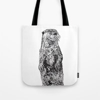 otter Tote Bags featuring Otter by Meredith Mackworth-Praed