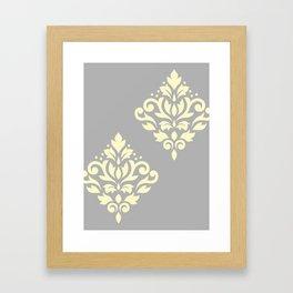 Scroll Damask Art I Yellow on Grey Framed Art Print