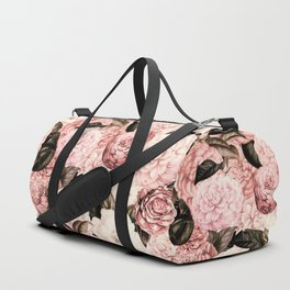 Vintage & Shabby Chic Pink Floral camellia flowers watercolor pattern Duffle Bag