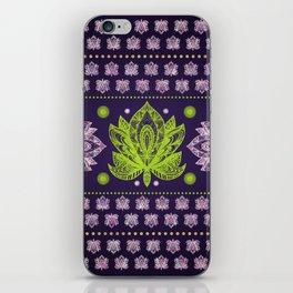Lotus Flower in Bright green and Rose quartz iPhone Skin