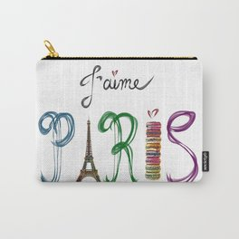 J'aime Paris - Eiffel Tower and Macaron Photograph and Illustration Carry-All Pouch