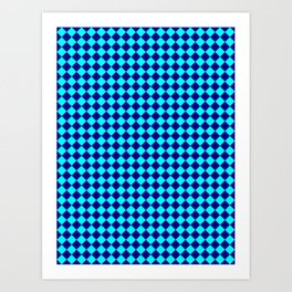 Cyan and Navy Blue Diamonds Art Print