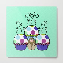 Cute Monster With Pink And Blue Polkadot Cupcakes Metal Print