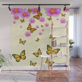 YELLOW-ORANGE MONARCH BUTTERFLIES PINK ROSES  MONTAGE Wall Mural