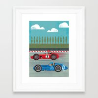 racing Framed Art Prints featuring Retro Racing by we are 3 fish