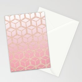 mauve pink ombre with rose gold cube pattern Stationery Cards