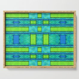 Abstract Painted green bars Serving Tray