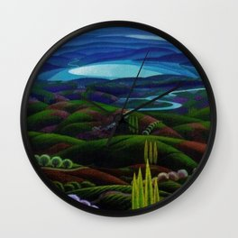 The Primeval Forest landscape painting by Gerardo Dottori Wall Clock