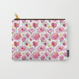 Hand painted blush pink yellow watercolor roses Carry-All Pouch