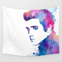 elvis presley Wall Tapestries featuring Elvis Presley by WatercolorGirlArt