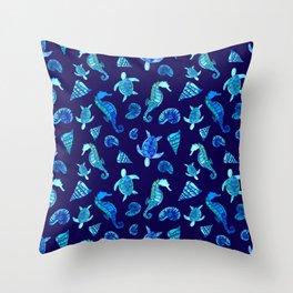 Sea Creatures | Cyan, Navy Blue Marine Animals Pattern Throw Pillow
