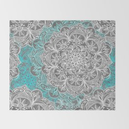 Turquoise & White Mandalas on Grey Throw Blanket