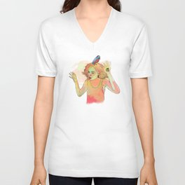 Girl and Crow and Owl Unisex V-Neck