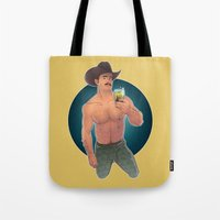 cowboy Tote Bags featuring COWBOY by artedgar