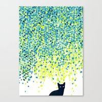 garden Canvas Prints featuring Cat in the garden under willow tree by Picomodi