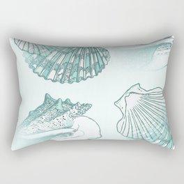Seashells Coastal Pattern Aqua Sea Blue Rectangular Pillow