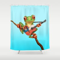 chile Shower Curtains featuring Tree Frog Playing Acoustic Guitar with Flag of Chile by Jeff Bartels