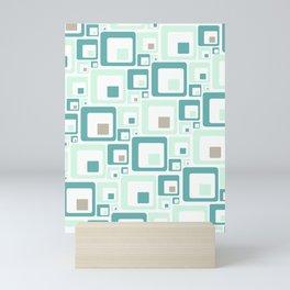 Retro Squares Mid Century Modern Background Mini Art Print