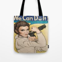leia Tote Bags featuring Leia by seventhwonderwitch