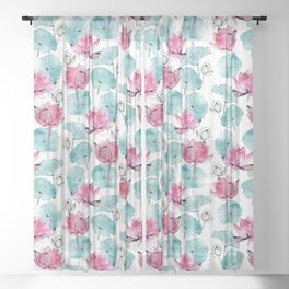 Waterlily buds Sheer Curtain