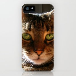 Marley the Mackerel Tabby Cat with Intense Green Eyes iPhone Case