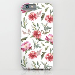 Pink flowers & green leafs pattern iPhone Case