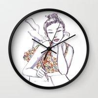 writing Wall Clocks featuring Woman Writing by Stevyn Llewellyn