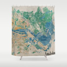 Amsterdam, the watercolor beauty Shower Curtain