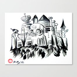 Wily Castle, Japanese Sumi-e Painting Canvas Print