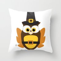 thanksgiving Throw Pillows featuring Owl Thanksgiving by Yatasi