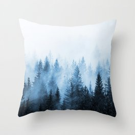 Misty Winter Forest Throw Pillow