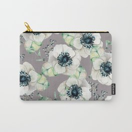 Soothing Rose Garden Gray + White Navy Carry-All Pouch