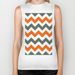 Chevron Pattern In Russet Orange Grey and White Biker Tank