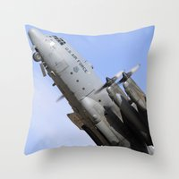 aviation Throw Pillows featuring USAF C-130 Aviation take off by Aviator