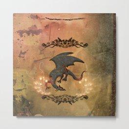 Wonderful dragon with floral elements Metal Print