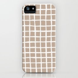 Strokes Grid - Off White on Nude iPhone Case