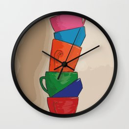 Rainbow Coffee Cups Wall Clock