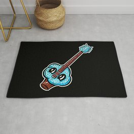 Sweet Cupcake Guitar - Cute Blue Sprinkles Cupcake Cartoon Rug
