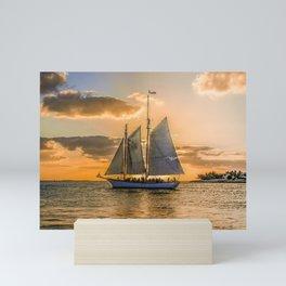 Sunset Sail and Plane Mini Art Print