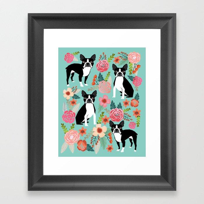 Floral Boston Terrier cute flowers spring bouquet love valentines day black and white mint dogs Gerahmter Kunstdruck