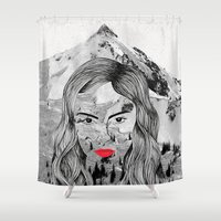 cara Shower Curtains featuring Cara by Veronique de Jong · illustration