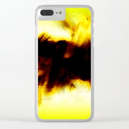 Hole In My Heart Black White Yellow Abstract Clear iPhone Case