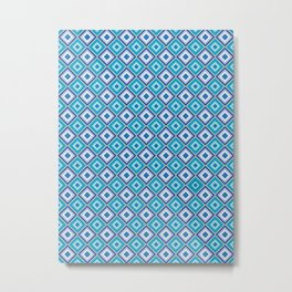 Blue Cubes - Geometric Work Metal Print