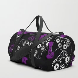 Video Game Purple on Black Duffle Bag