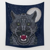 panther Wall Tapestries featuring Black Panther by ArtLovePassion